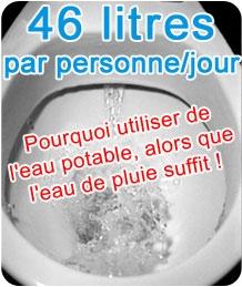 Gaspillage d'eau par les toilettes
