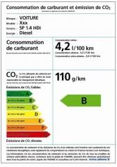 Etiquette sur la consommation d'un véhicule