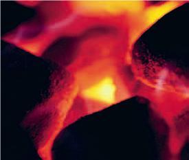 Photo de charbon en pleine combustion