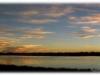 Paysage panoramique couché de soleil